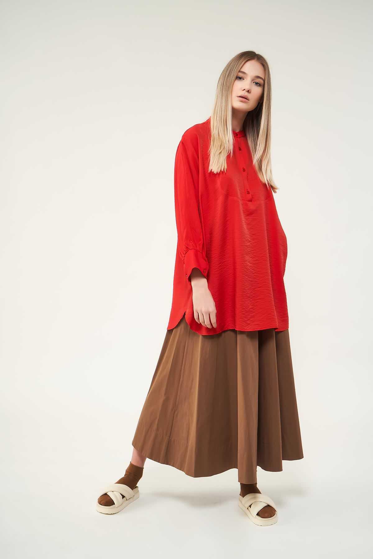 Mevra - Oversize Tunik Kırmızı
