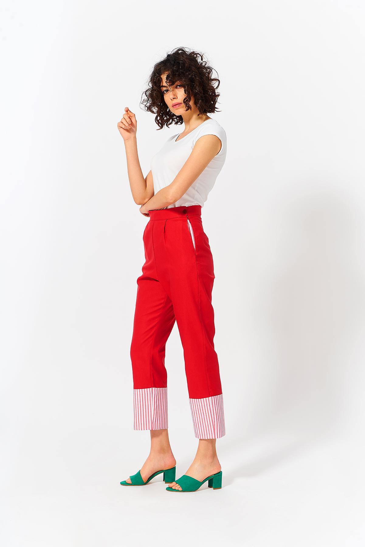 Mevra - Paça Detay Pantolon Kırmızı