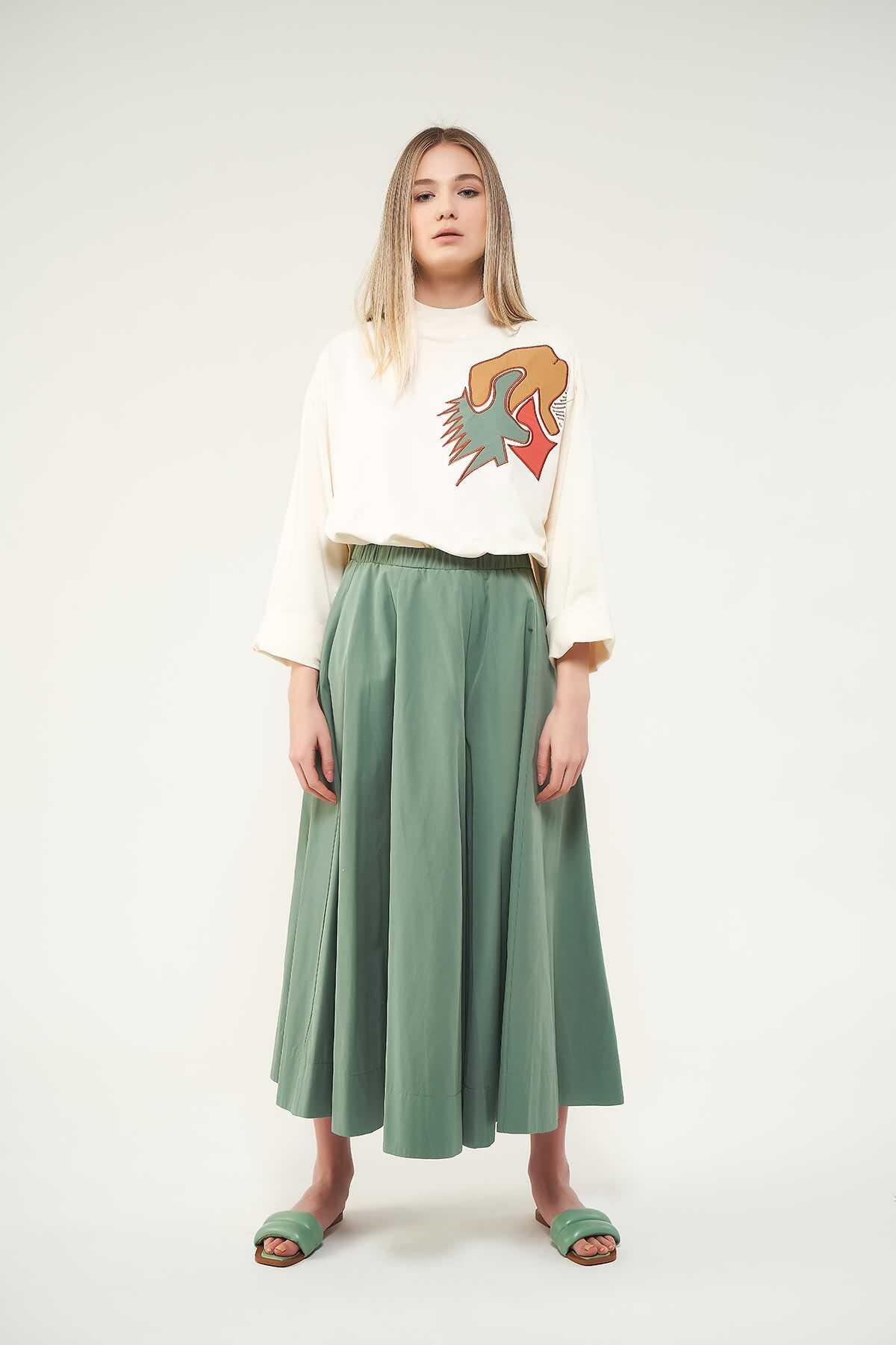Mevra - Pantolon Etek Yeşil