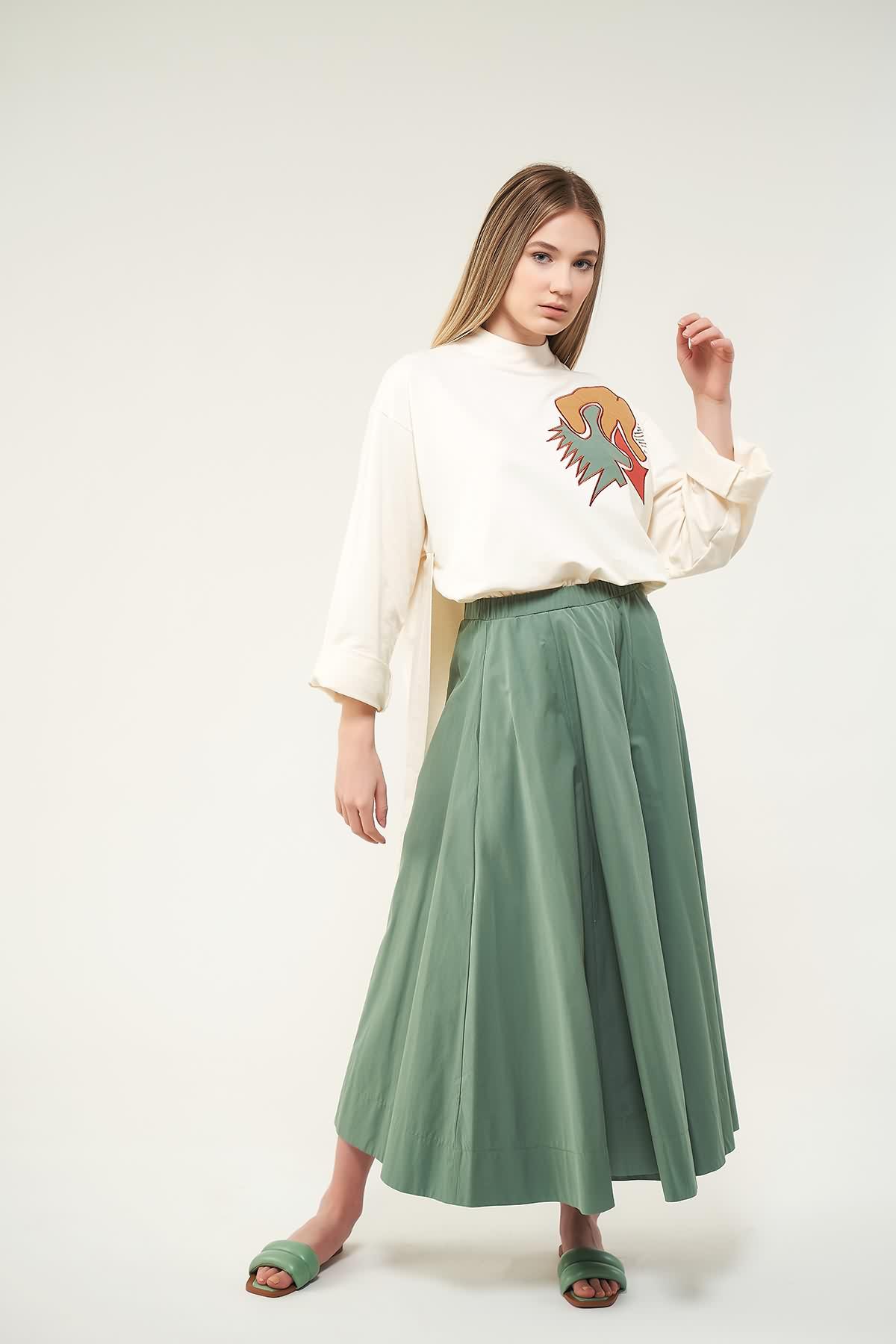 Pantolon Etek Yeşil - Thumbnail