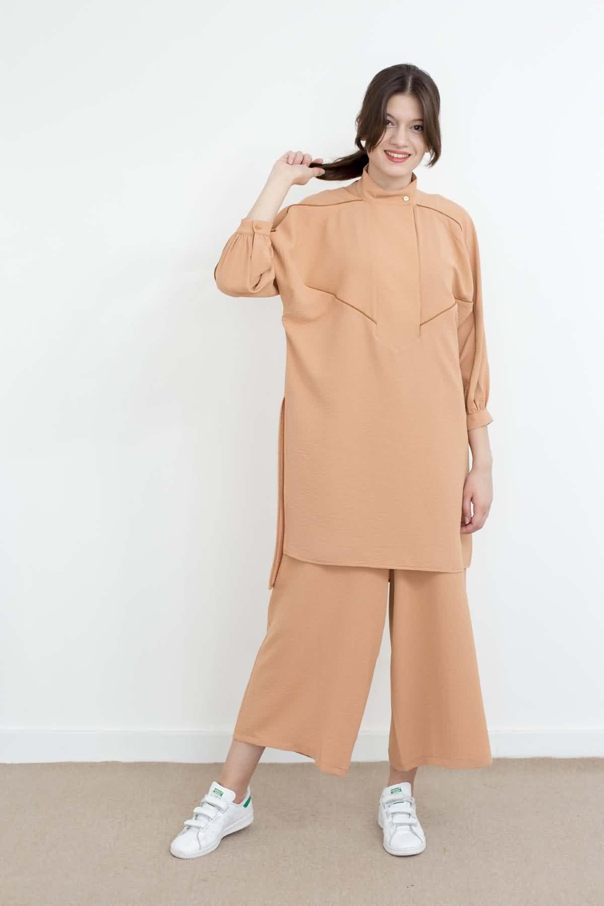 Mevra - Pat Detay Biyeli Tunik Somon