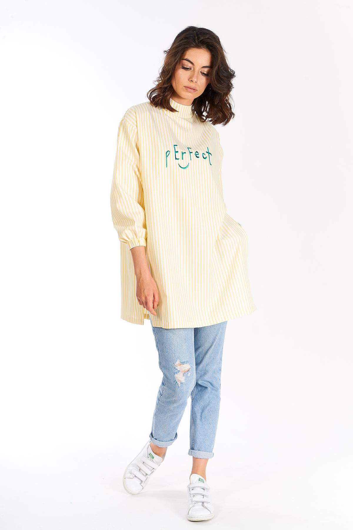 Mevra - Perfect Çizgili Tunik Sarı