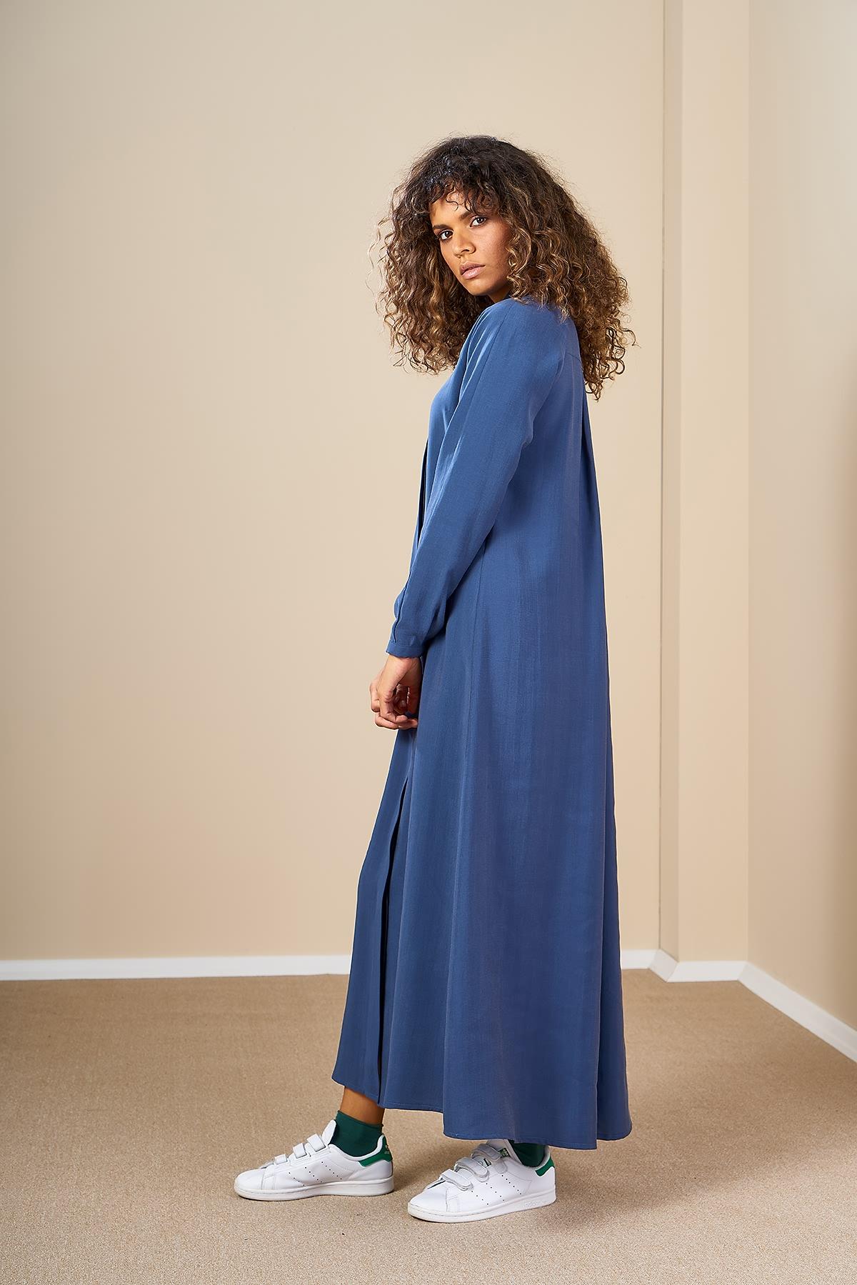 Mevra - Pileli Elbise İndigo
