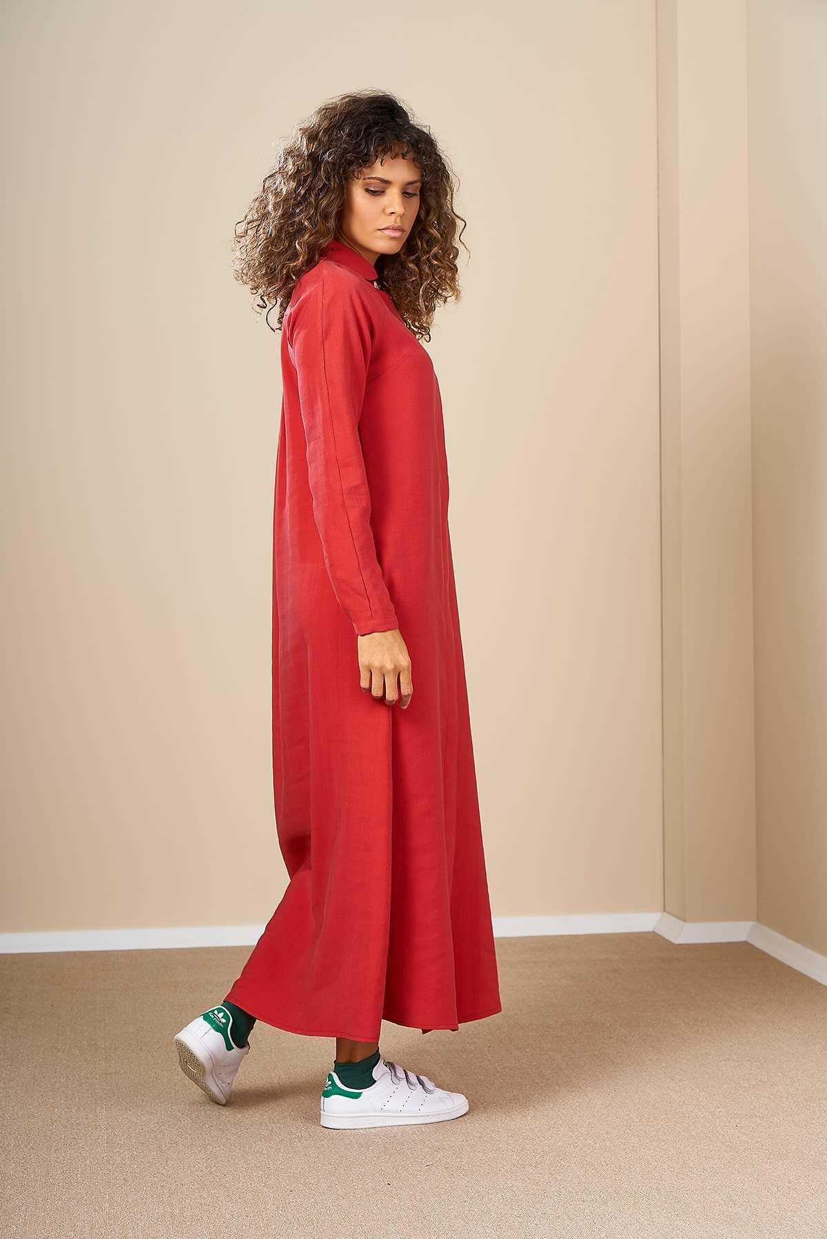 Mevra - Pileli Elbise Kırmızı