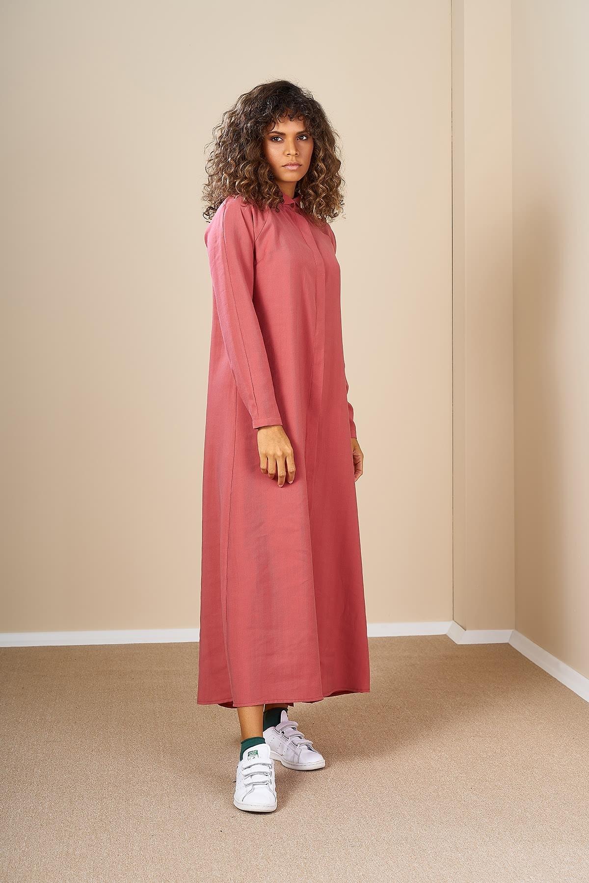 Mevra - Pileli Elbise Pudra