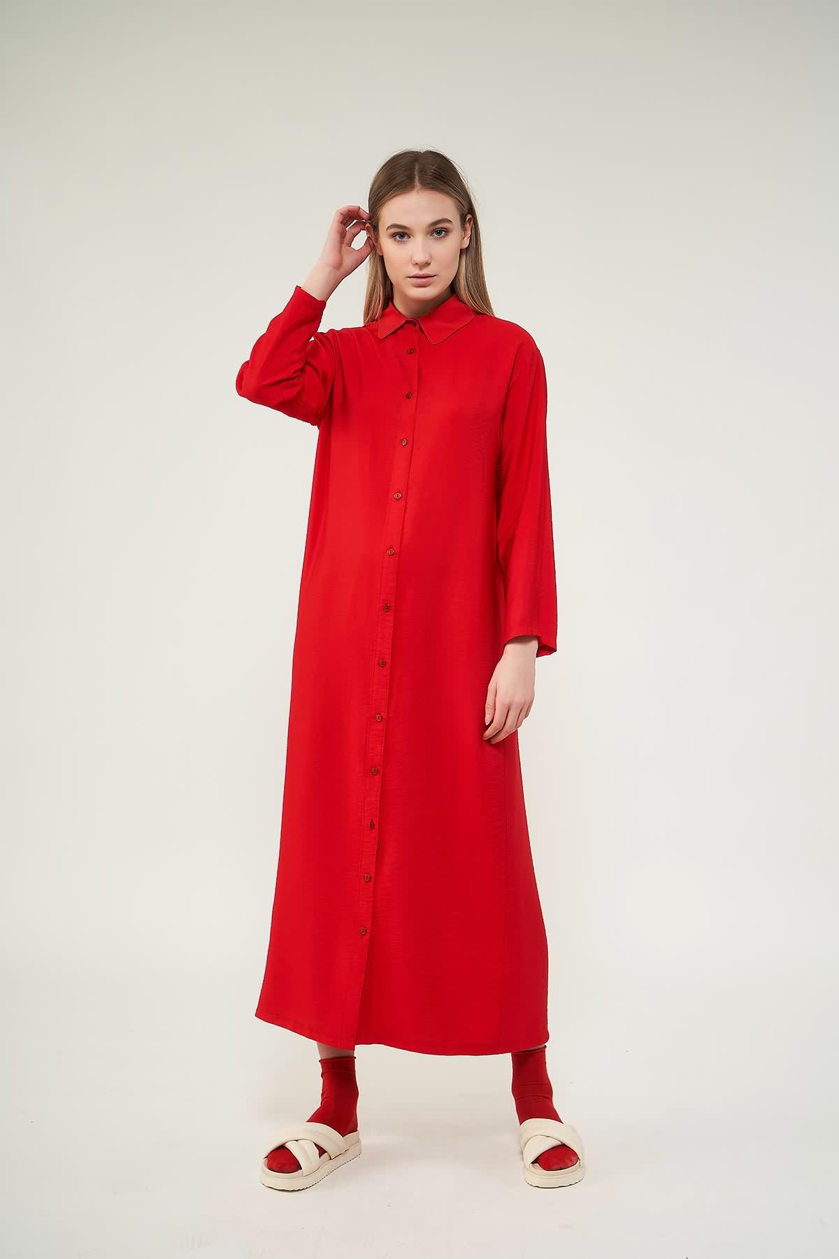 Pileli Tunik Elbise Kırmızı - Thumbnail