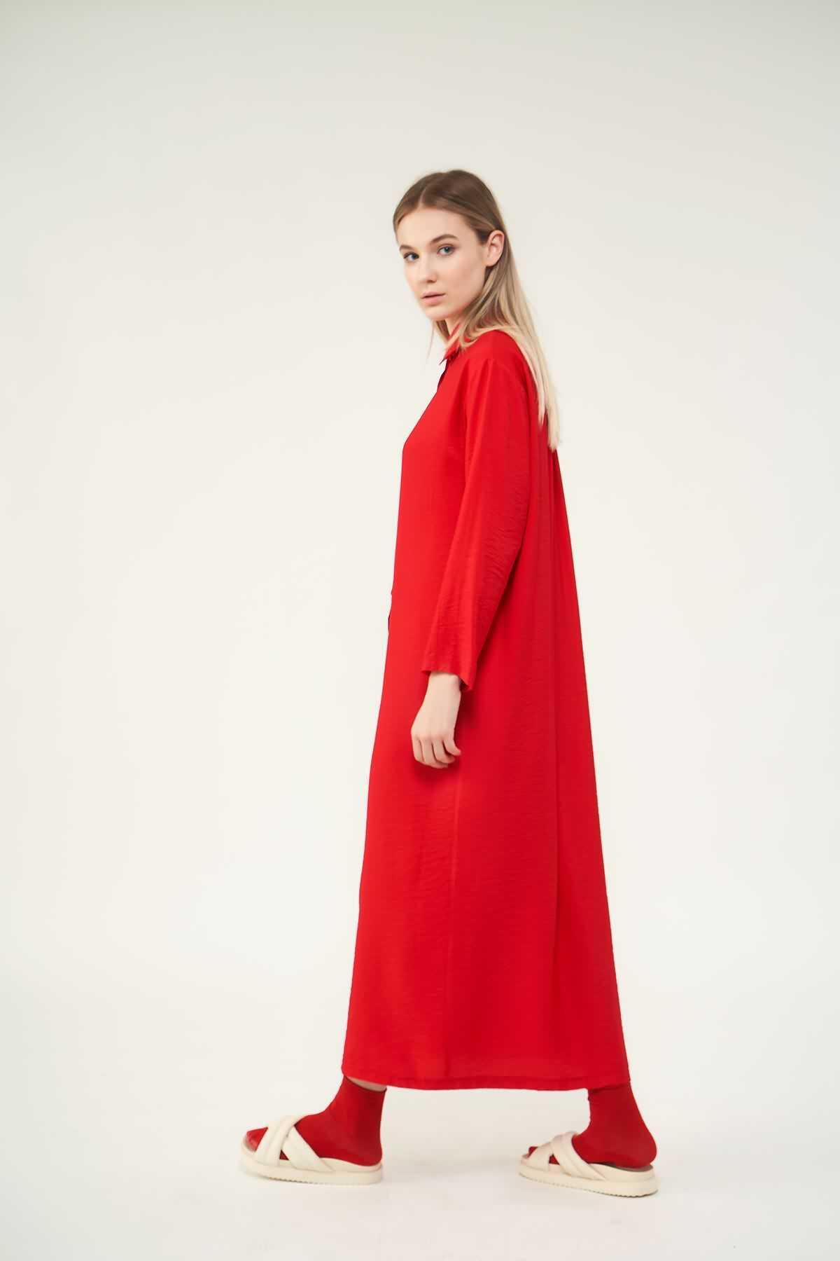 Pileli Tunik Elbise Kırmızı