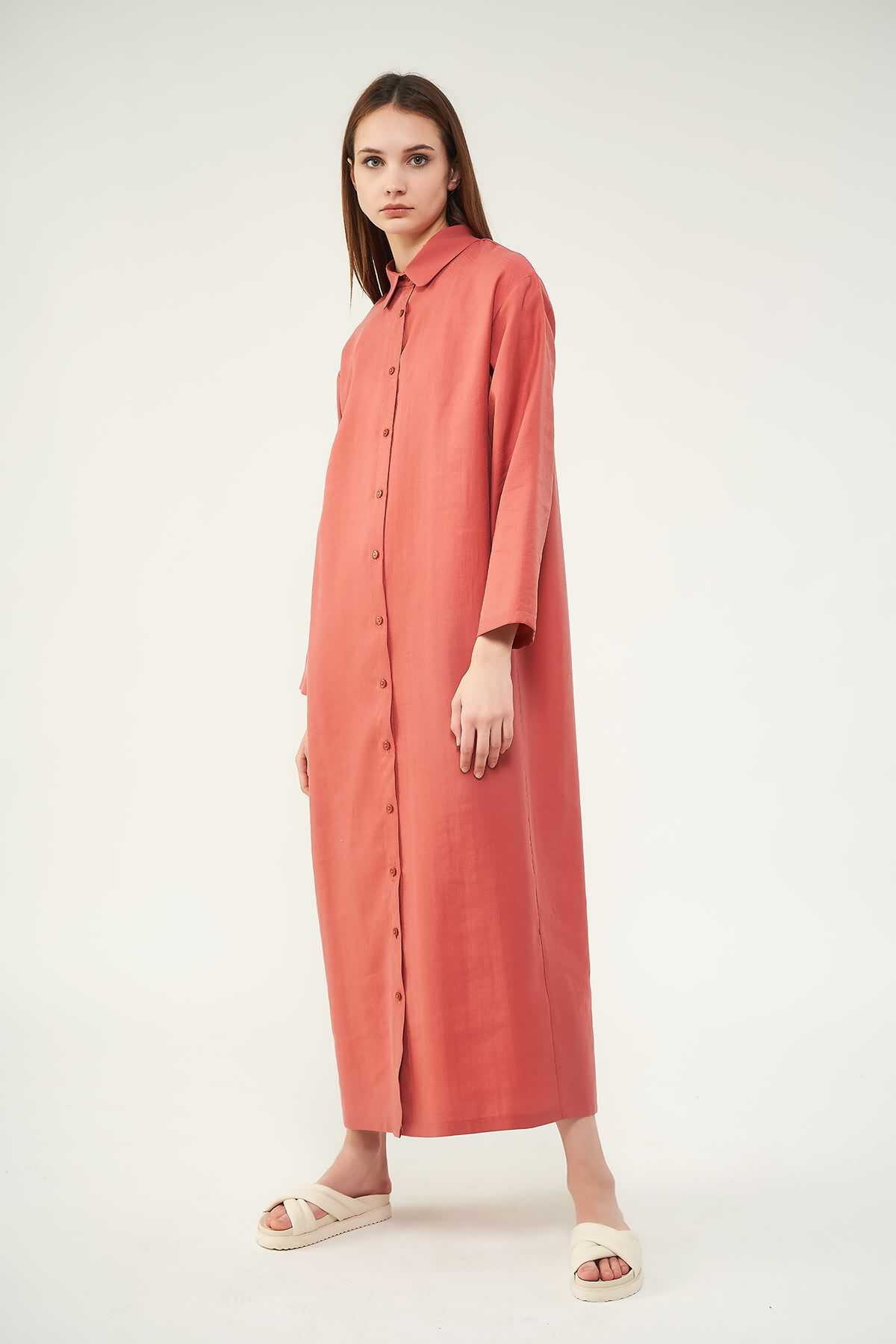 Mevra - Pileli Tunik Elbise Pudra