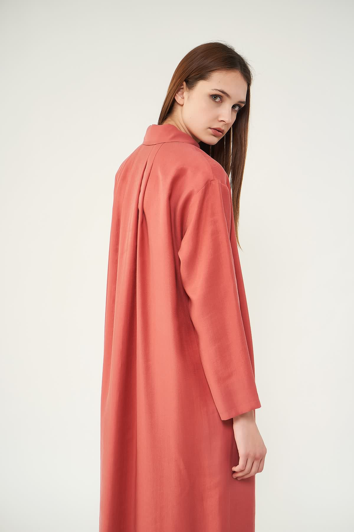 Pileli Tunik Elbise Pudra - Thumbnail