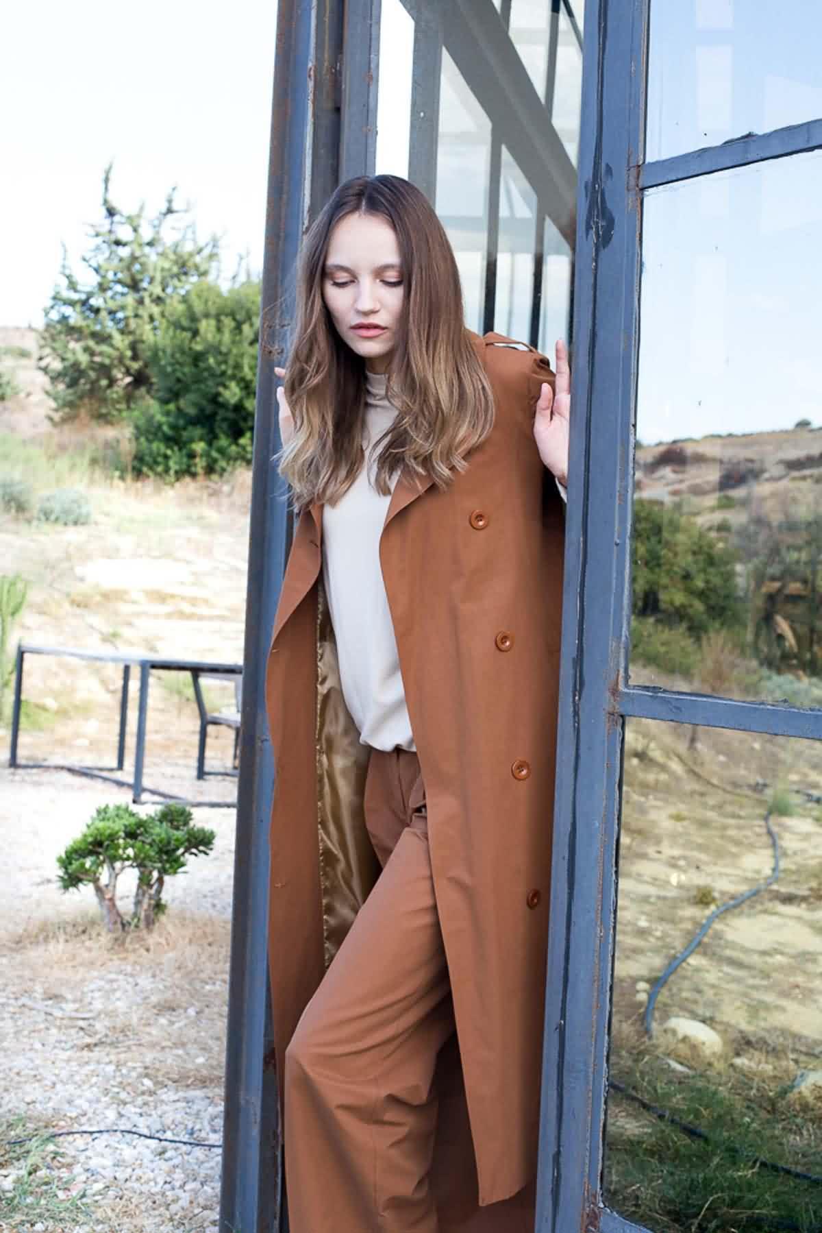 Mevra - Pilili Uzun Pantolon Mocha
