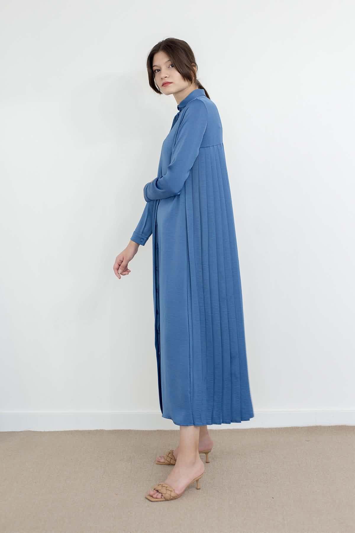 Mevra - Piliseli Elbise İndigo