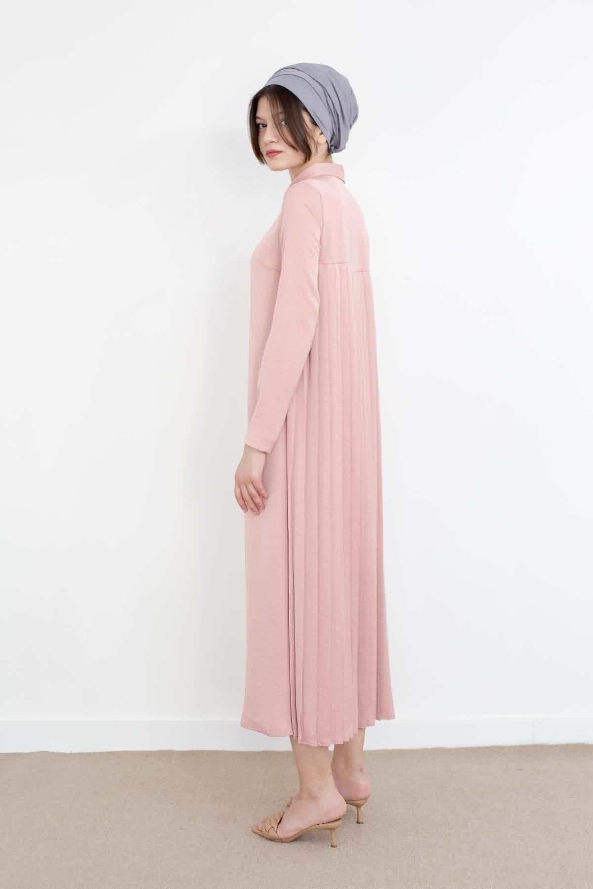 Mevra - Piliseli Elbise Pudra