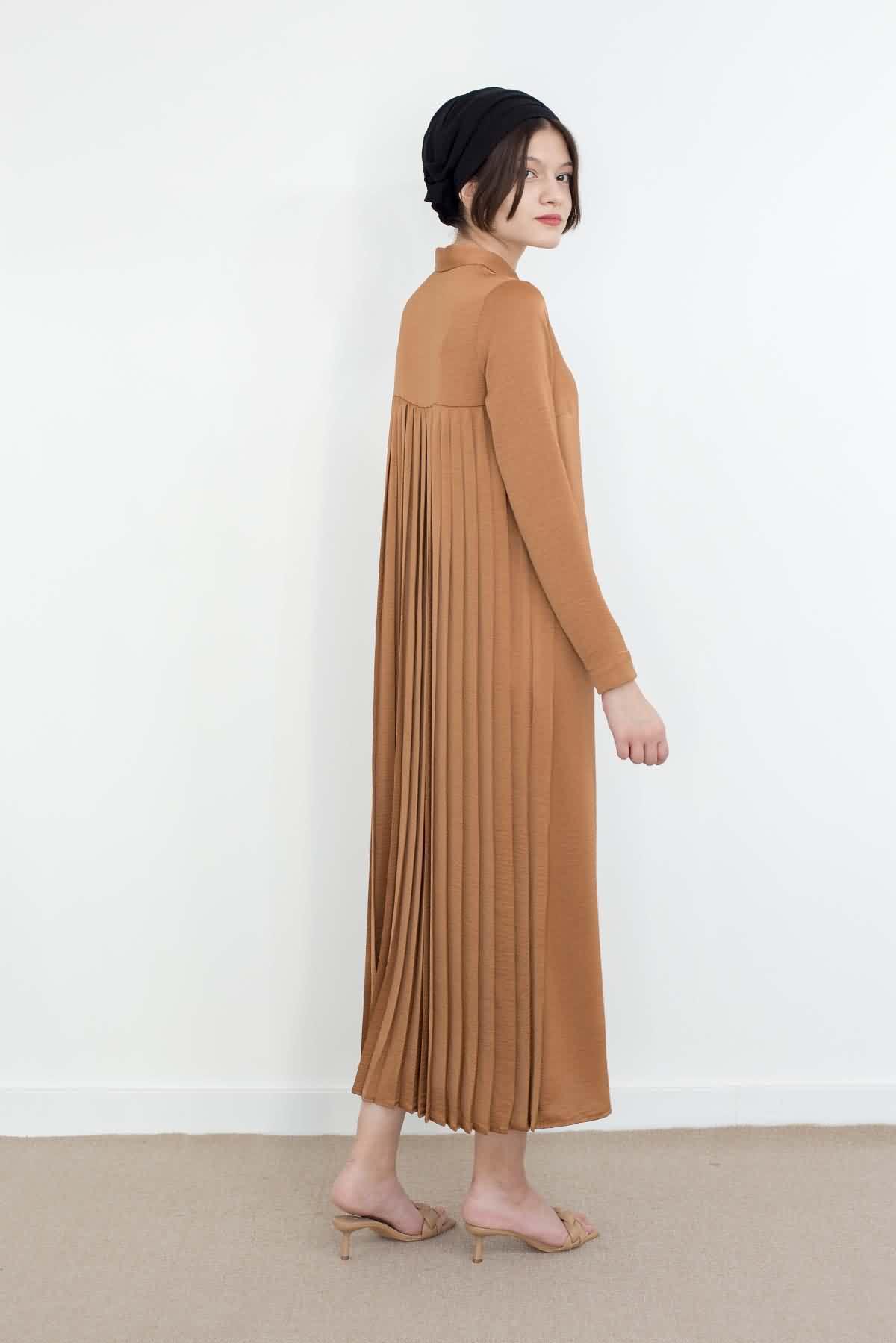 Mevra - Piliseli Elbise Toffee
