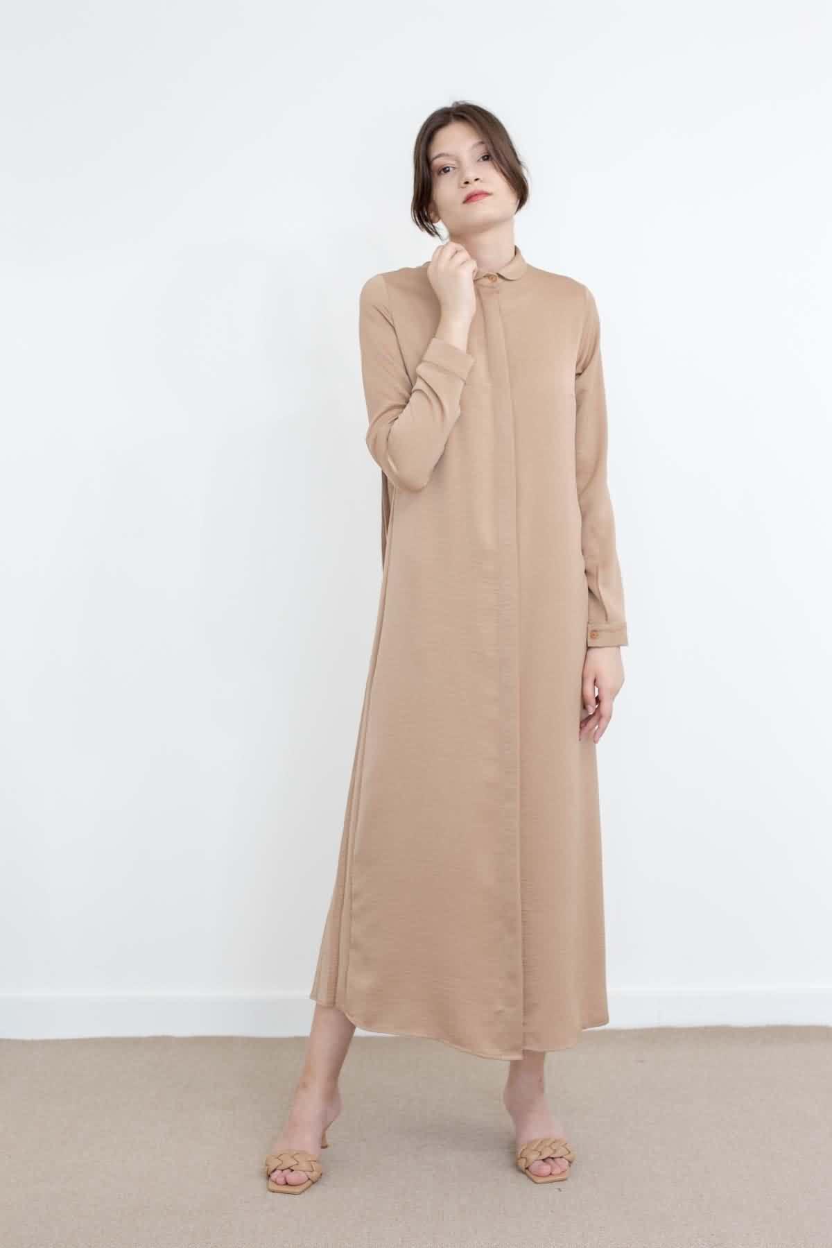 Mevra - Piliseli Elbise Bej