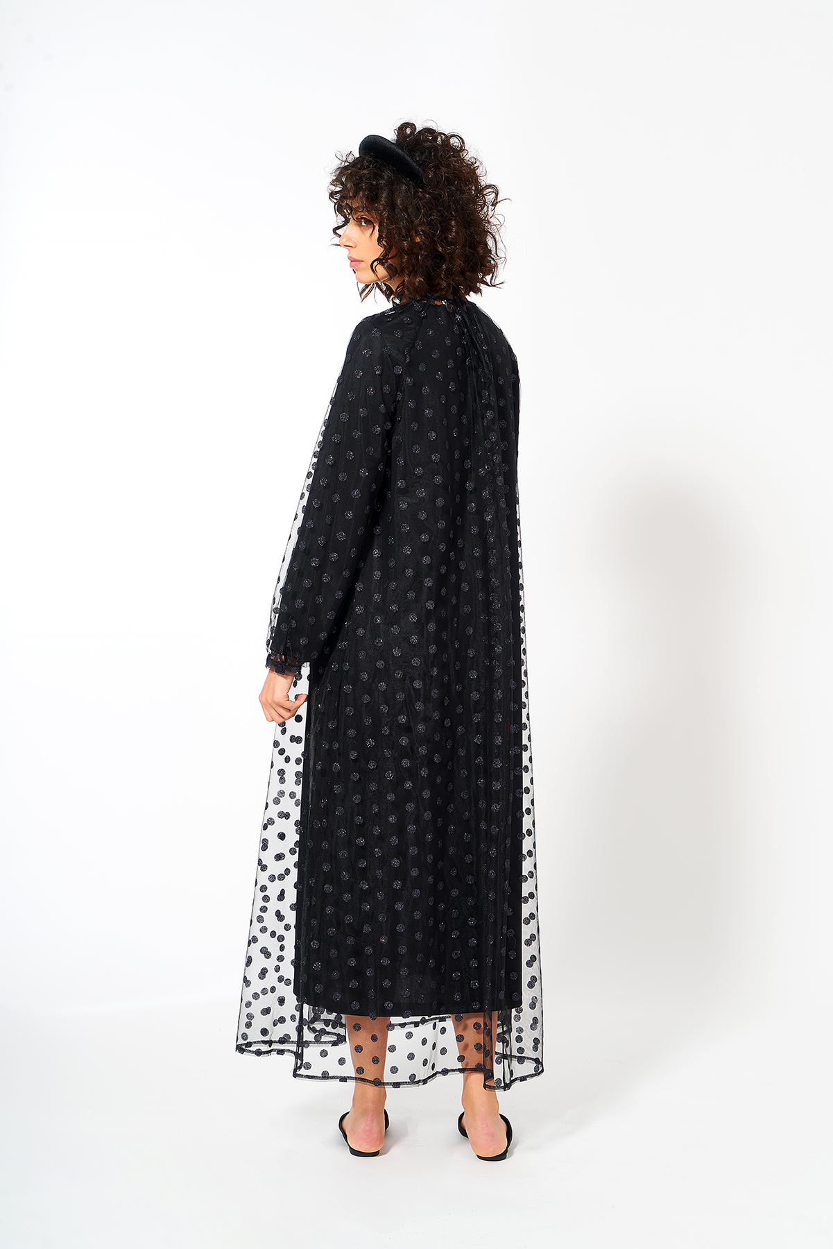 Mevra - Puantiye Tül Elbise Siyah