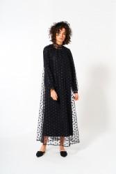 Puantiye Tül Elbise Siyah - Thumbnail