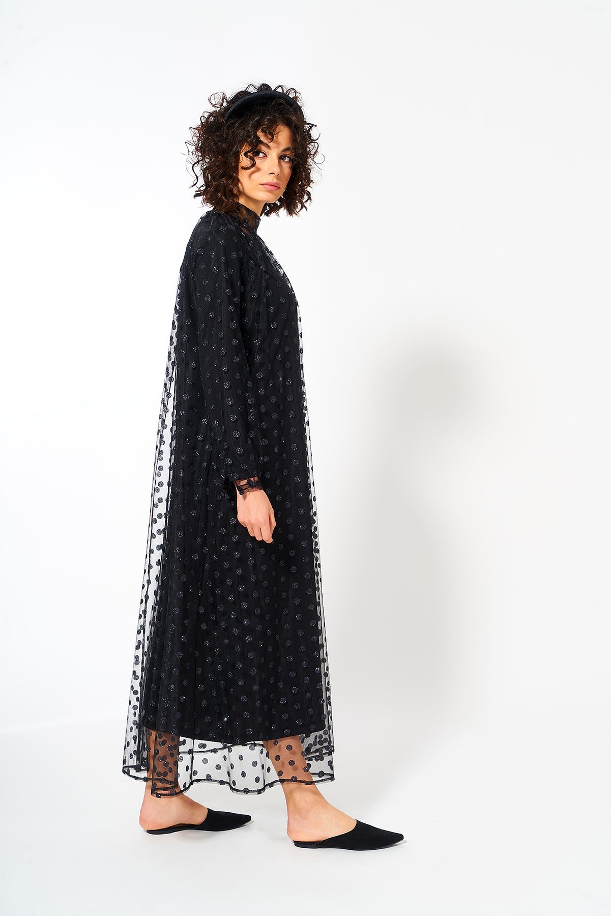 Puantiye Tül Elbise Siyah