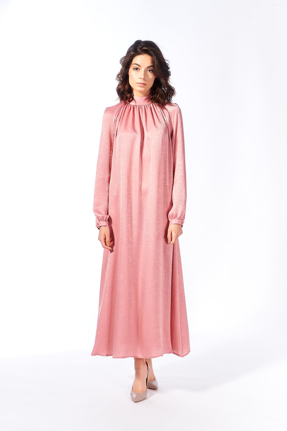 Mevra - Pudra Büzgülü Elbise