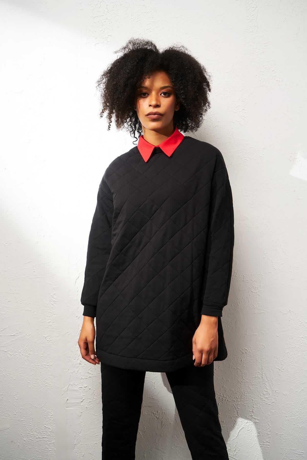 Mevra - Puf Sweatshirt Siyah