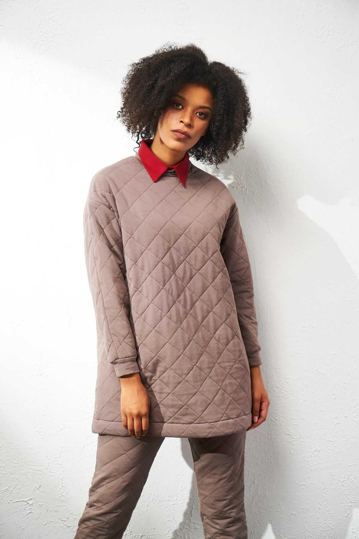 Mevra - Puf Sweatshirt Taş