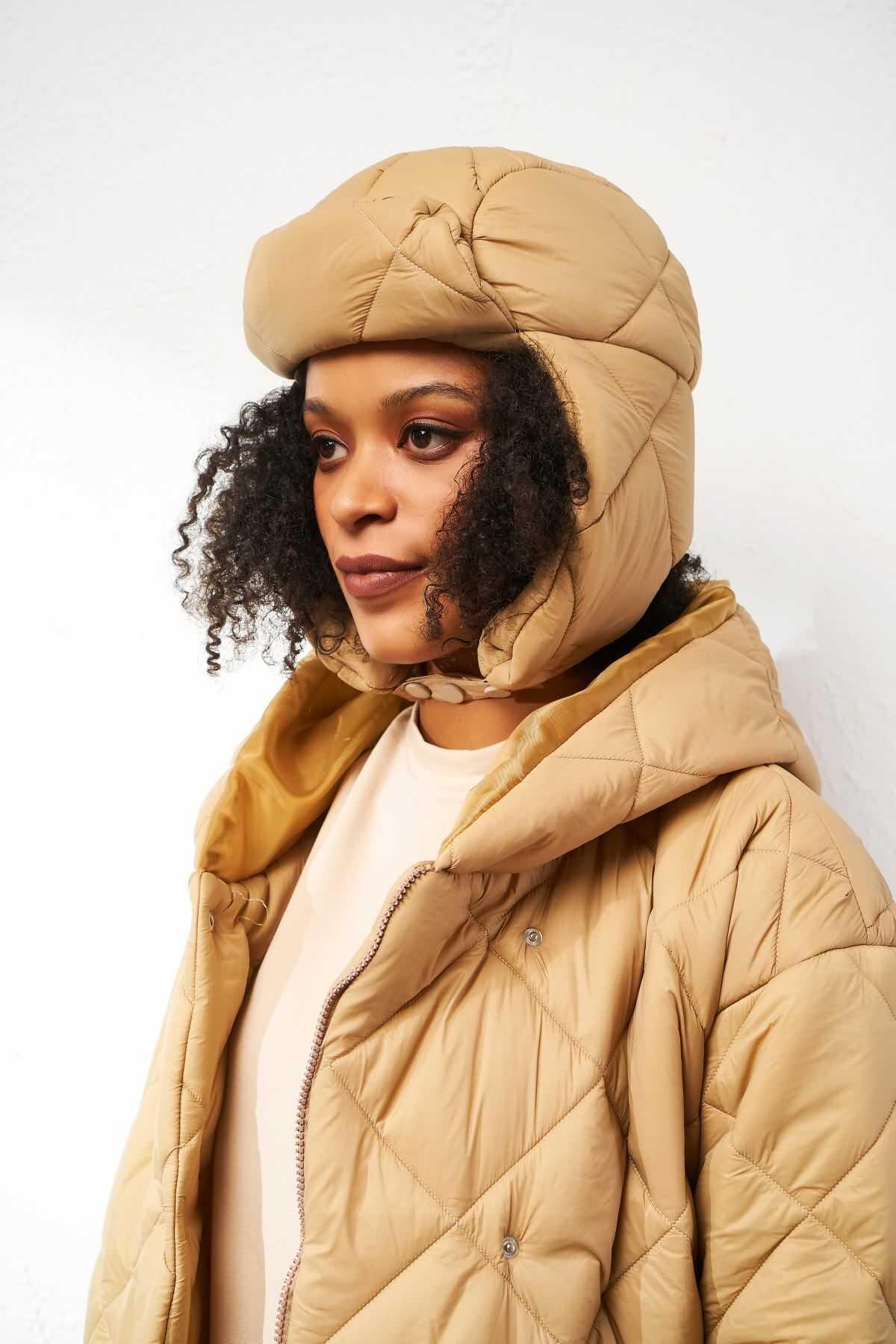 Mevra - Puffer Şapka Taş