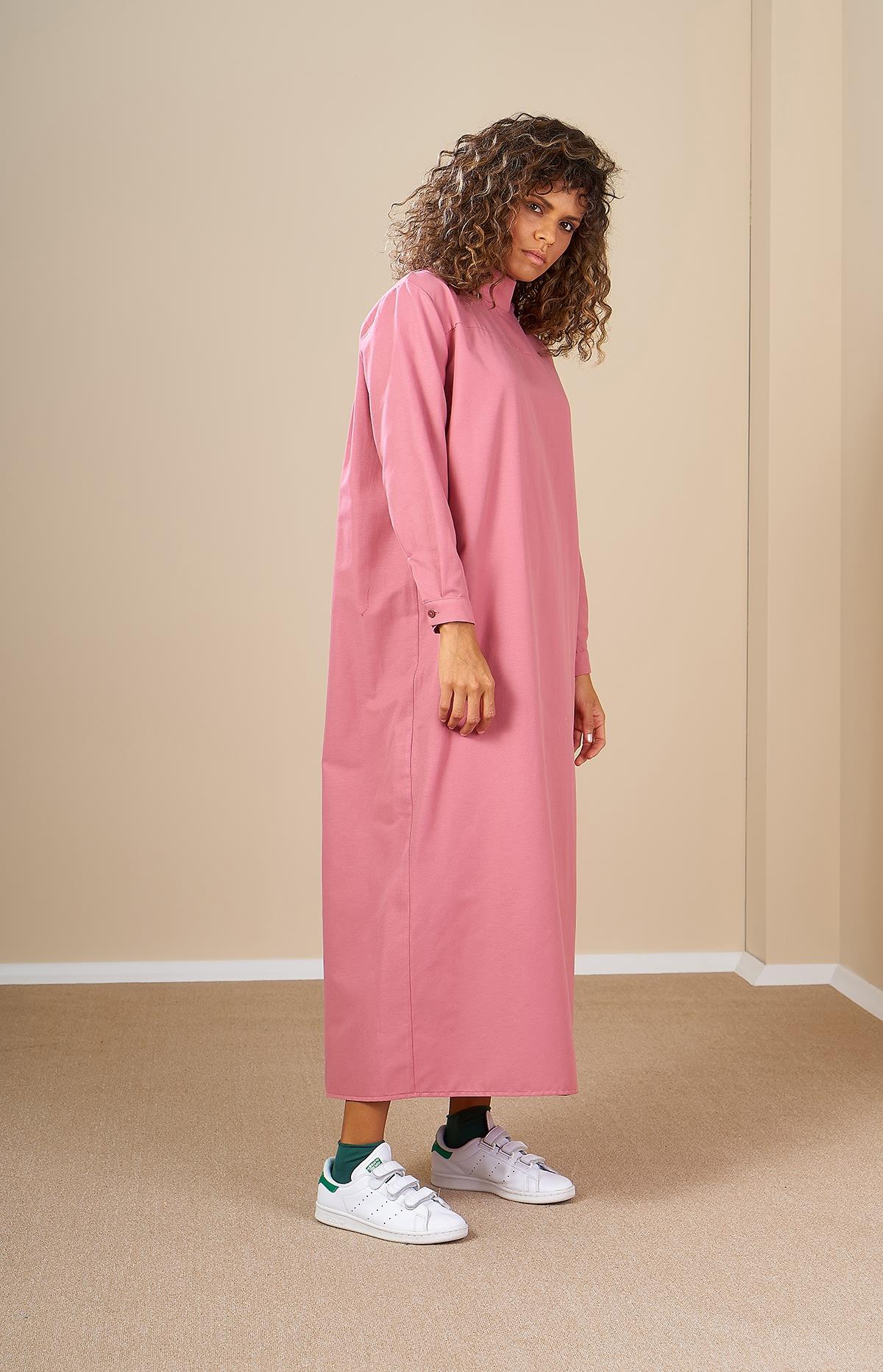 Mevra - Robalı Elbise Pudra