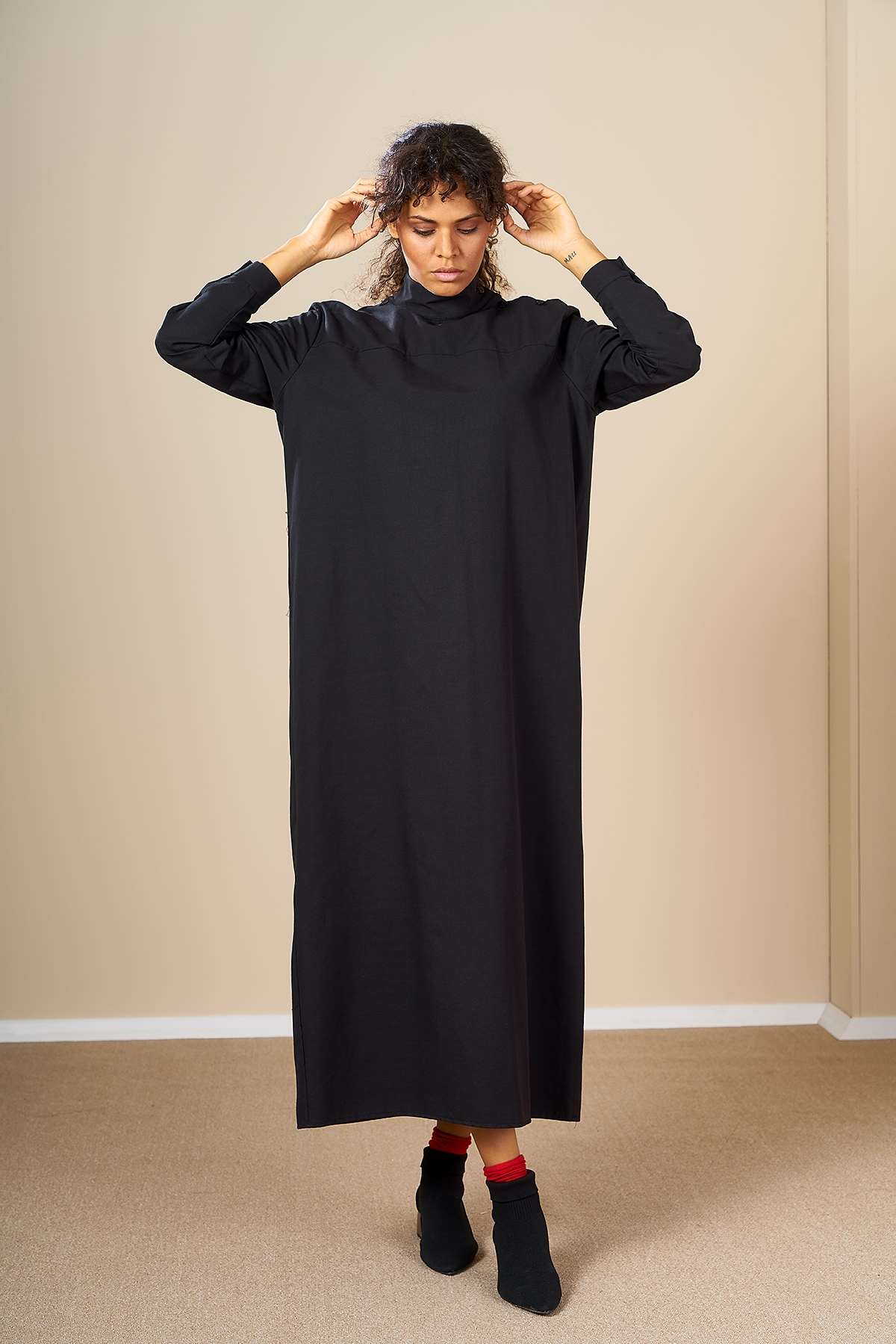 Mevra - Robalı Elbise Siyah