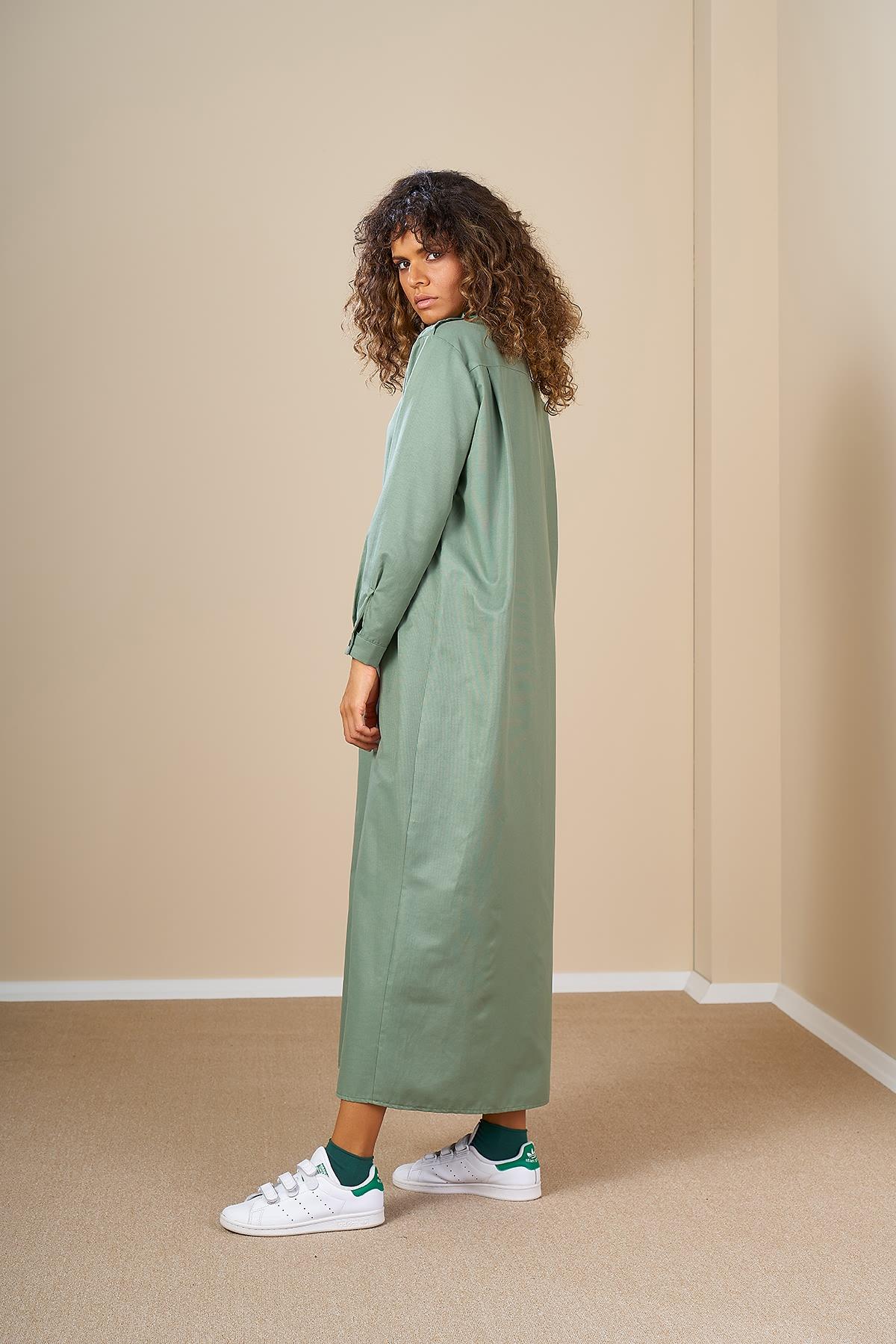 Mevra - Robalı Elbise Yeşil