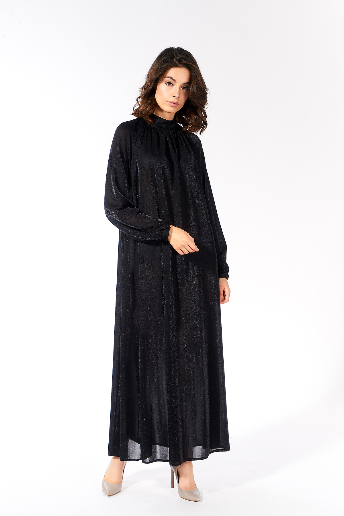 Mevra - Simli Büzgülü Elbise Siyah