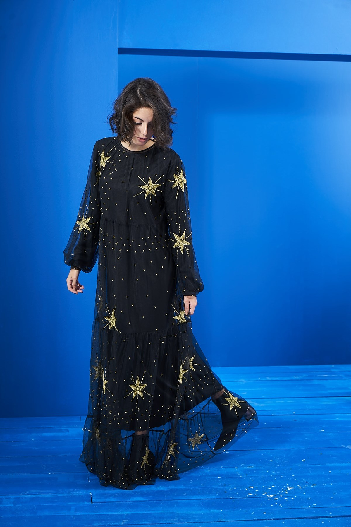 Mevra - Siyah Nakış Detaylı Tül Elbise