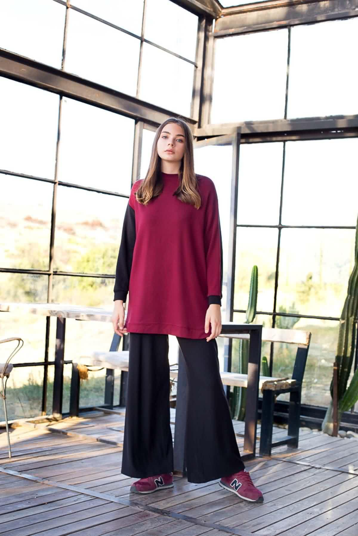 Mevra - Sweatshirt Bordo Siyah