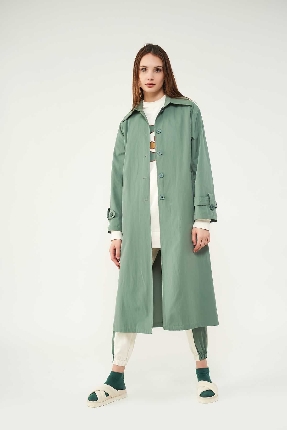Mevra - Trenchcoat Yeşil
