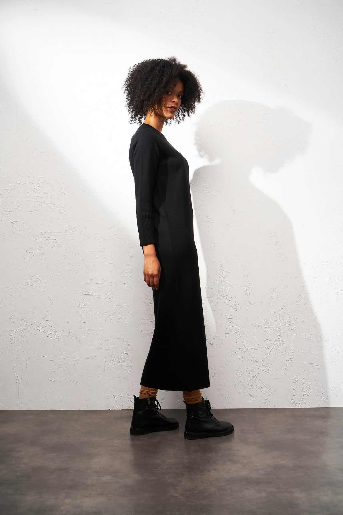 Triko Elbise Siyah