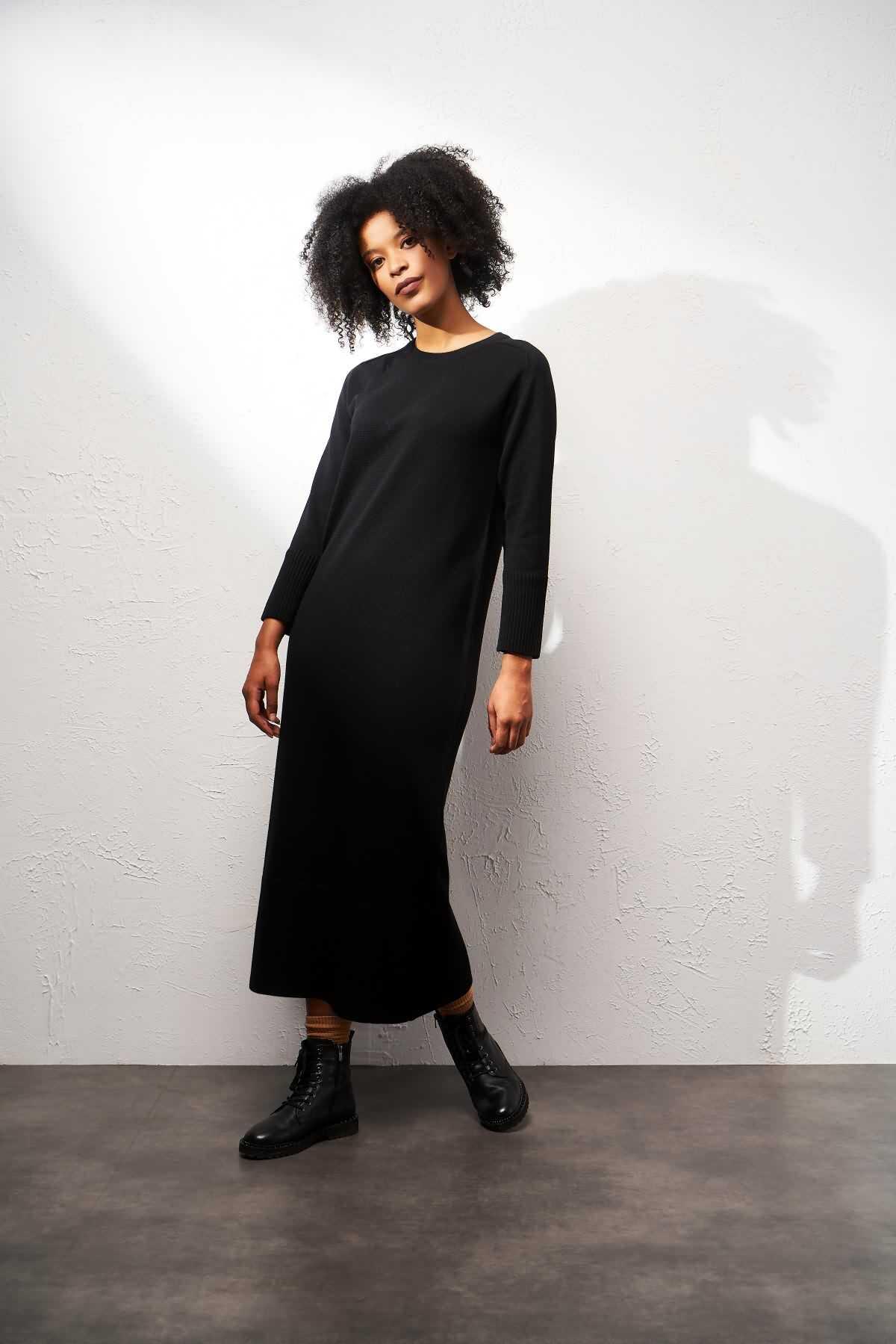 Mevra - Triko Elbise Siyah
