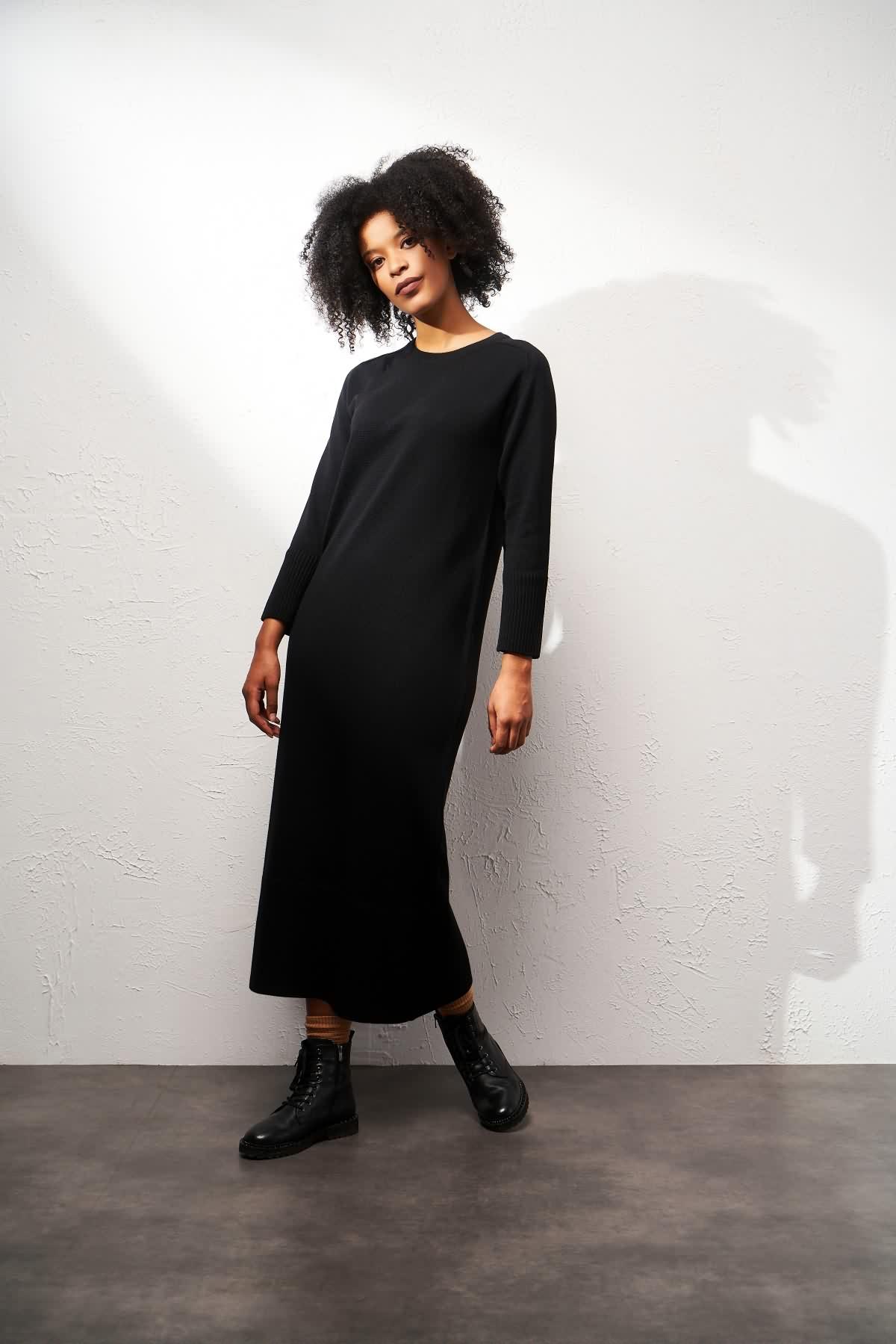 Triko Elbise Siyah - Thumbnail