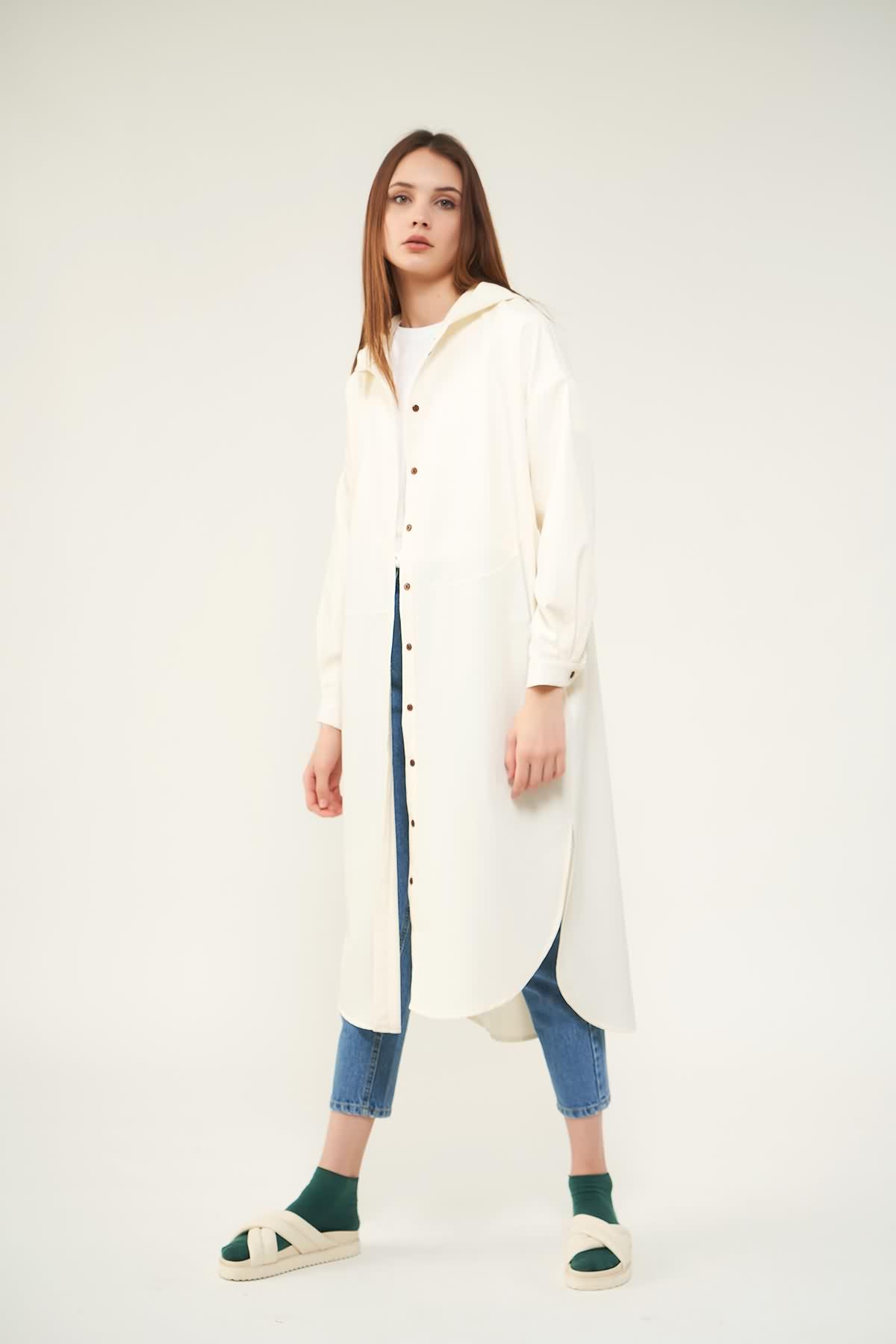 Tunik Ceket Nakışlı Gül kurusu - Thumbnail