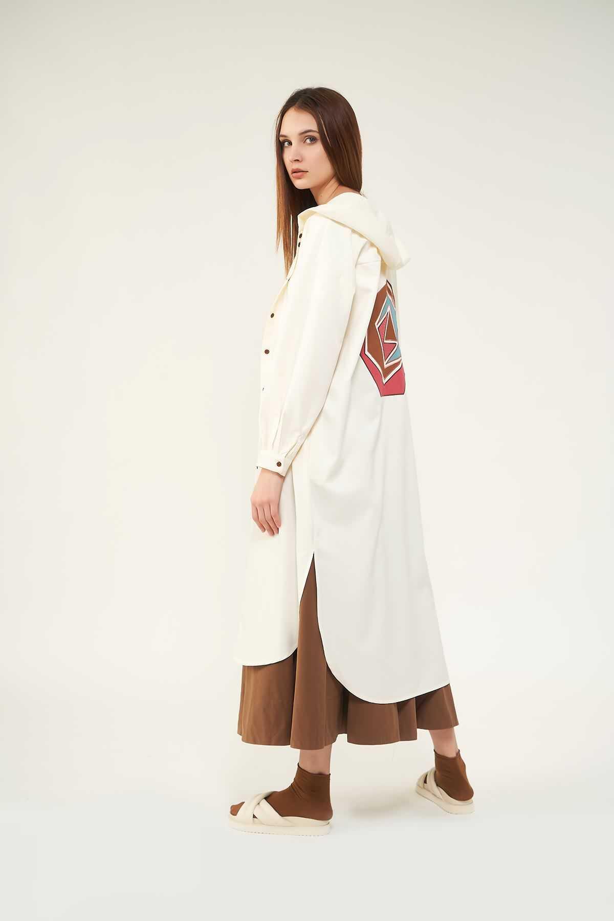 Tunik Ceket Nakışlı Gül kurusu