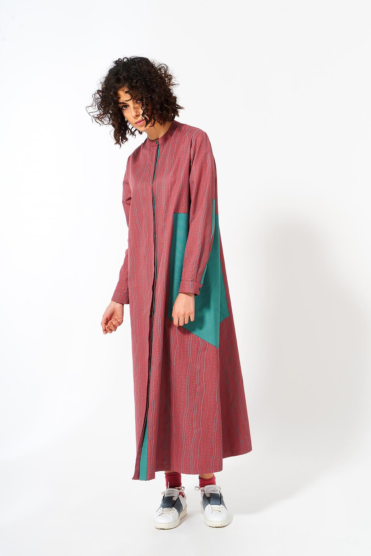 Mevra - Üçgen Detay Elbise Gül Kurusu