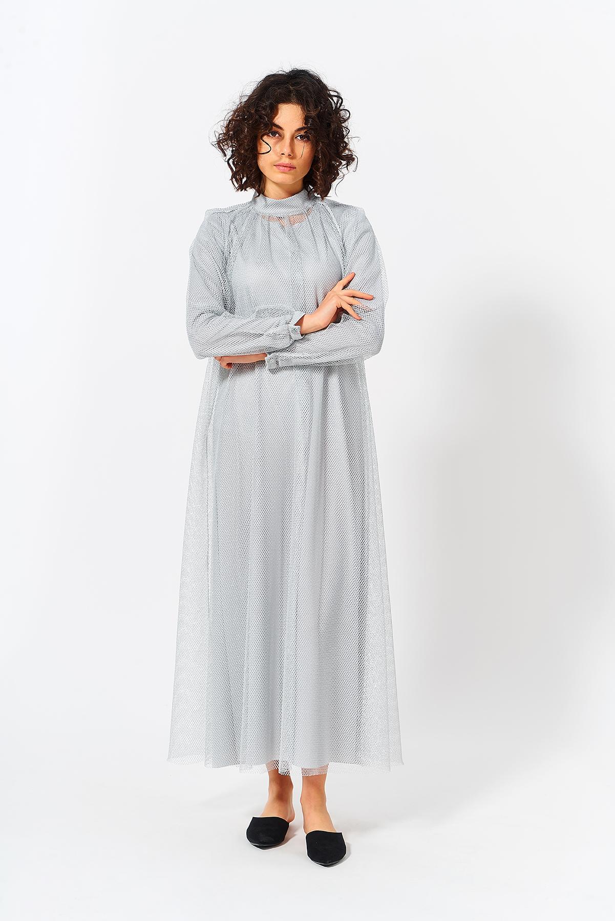Mevra - Uzun Abiye Elbise Gümüş
