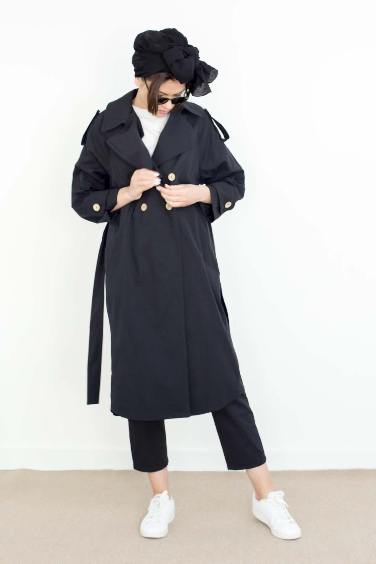 Mevra - Uzun Astarsız Trenchoat Siyah