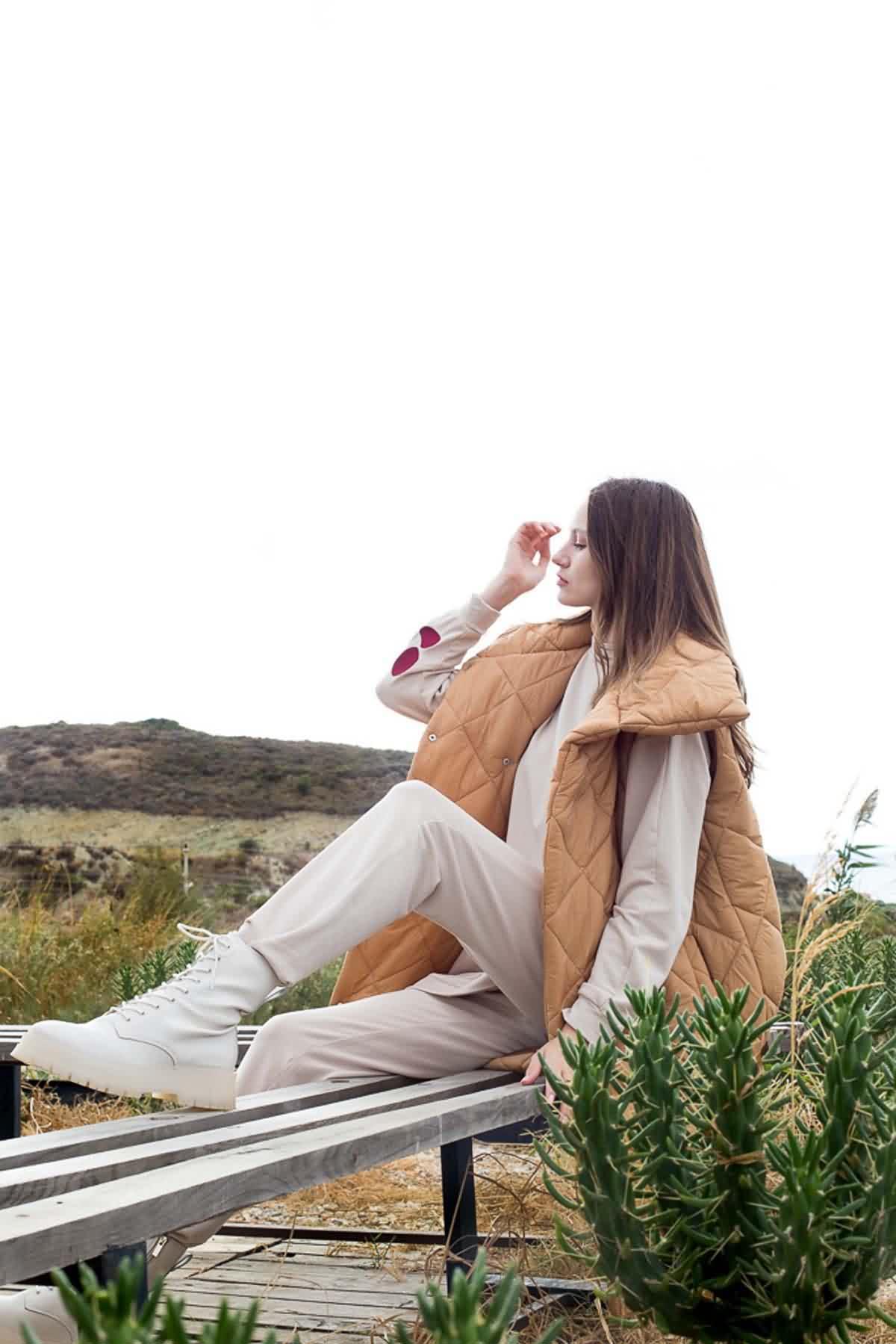 Mevra - Uzun Şişme Yelek Somon