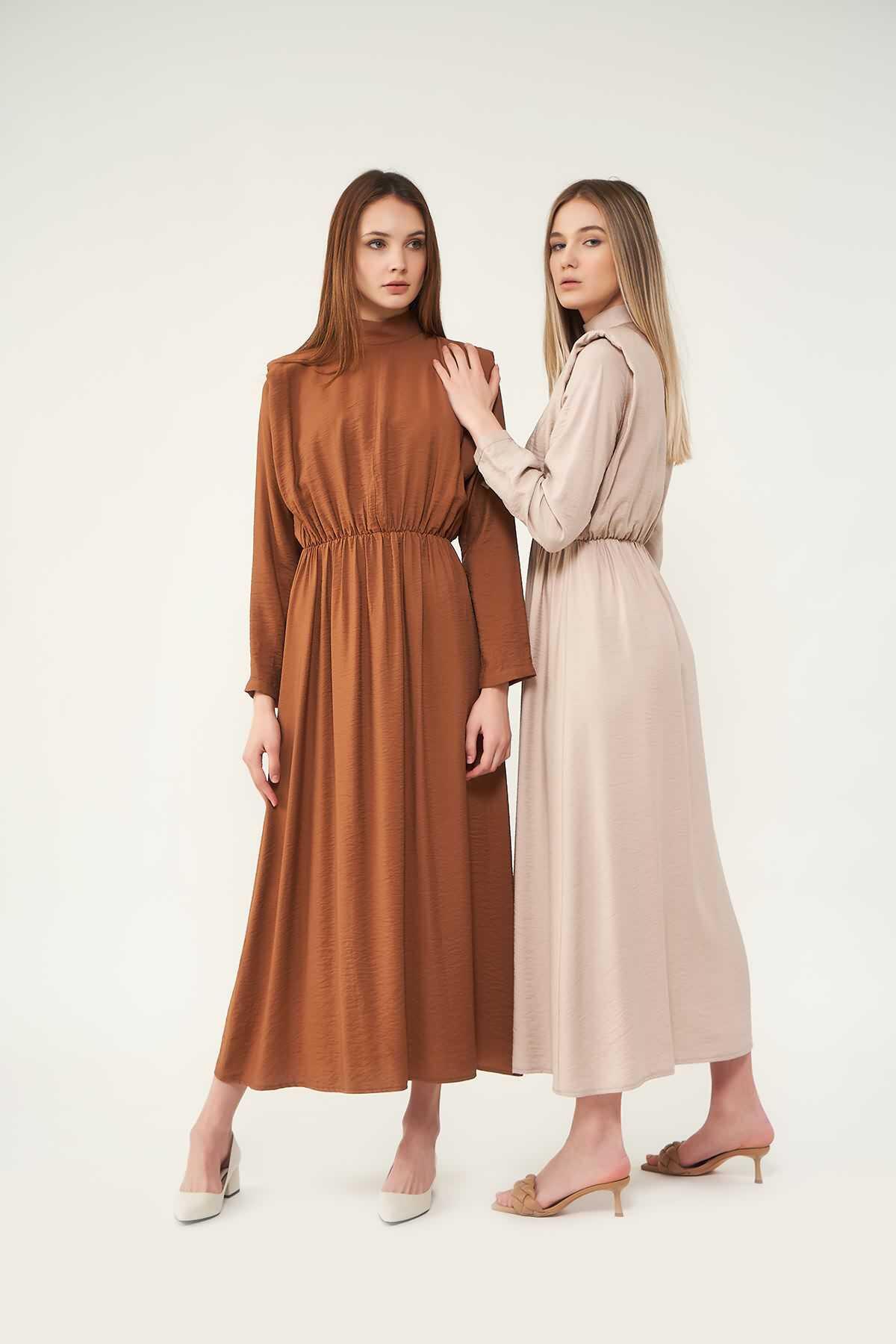 Mevra - Vatkalı Elbise Bej