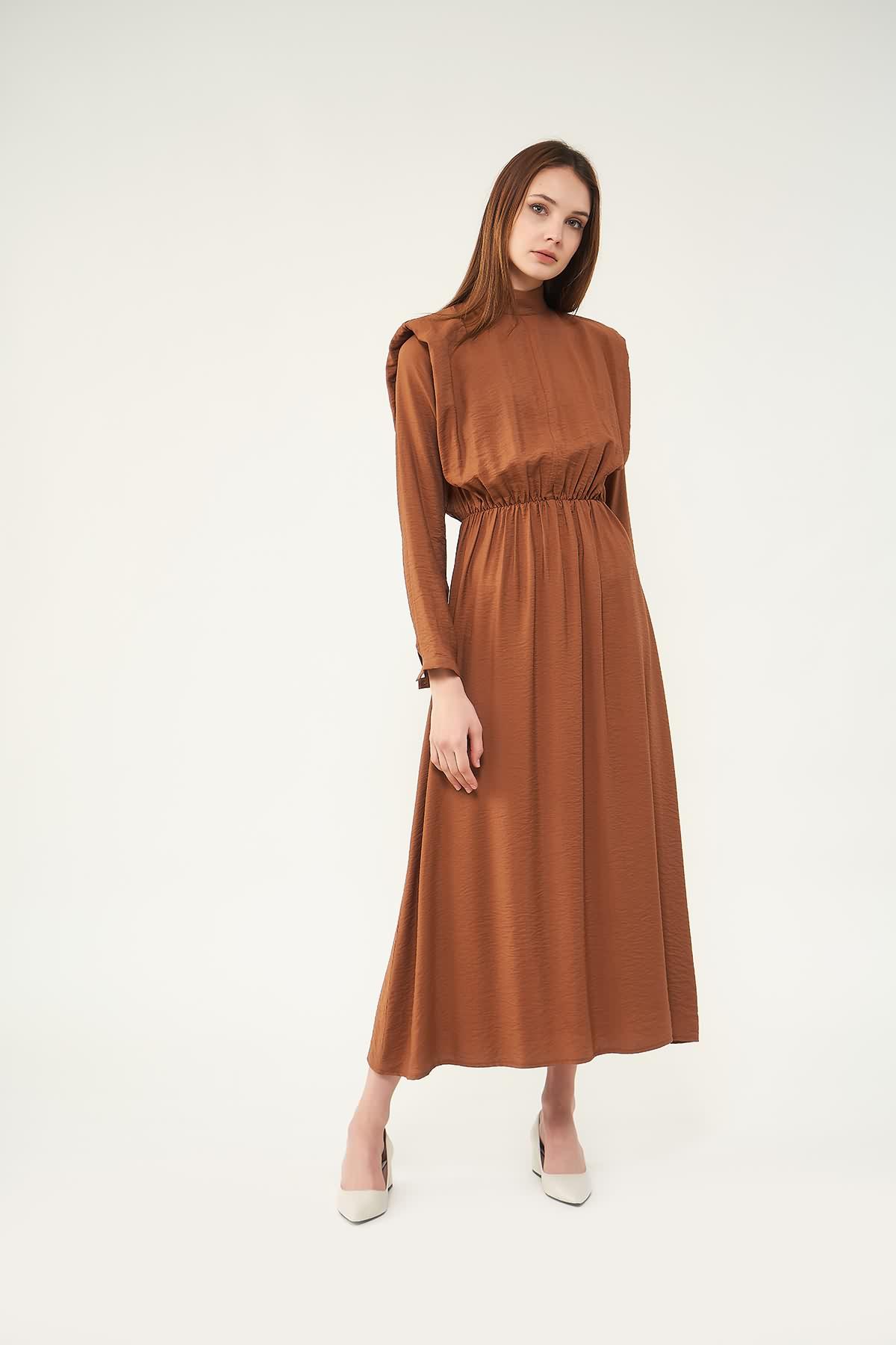 Vatkalı Elbise Kahve - Thumbnail