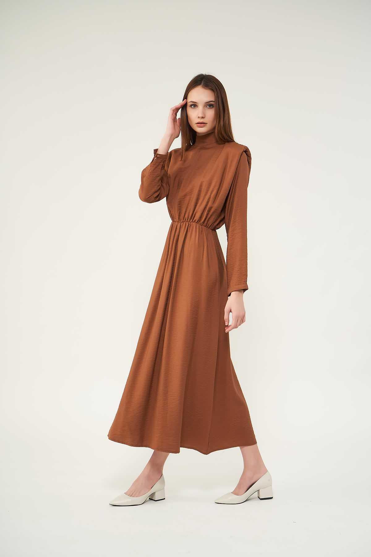 Mevra - Vatkalı Elbise Kahve