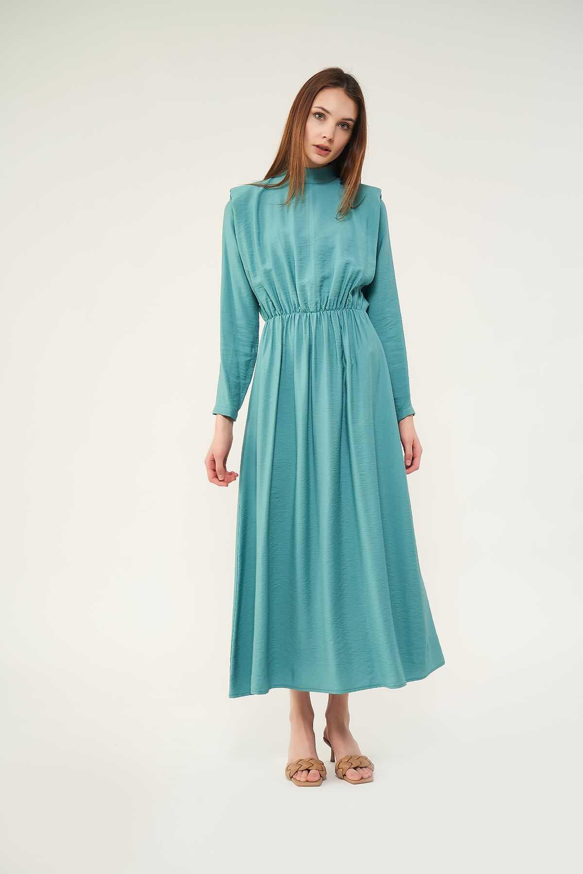 Mevra - Vatkalı Elbise Mint