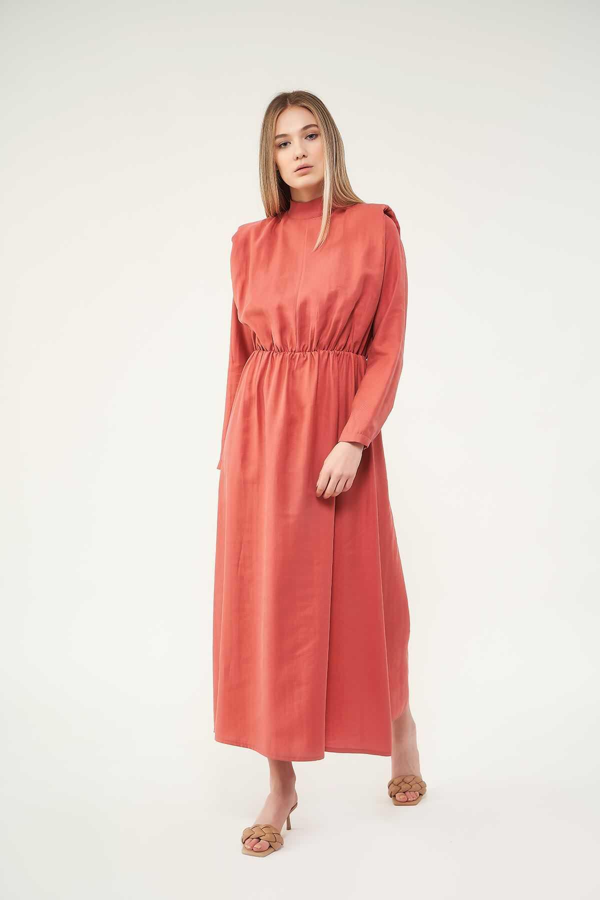 Mevra - Vatkalı Elbise Pudra