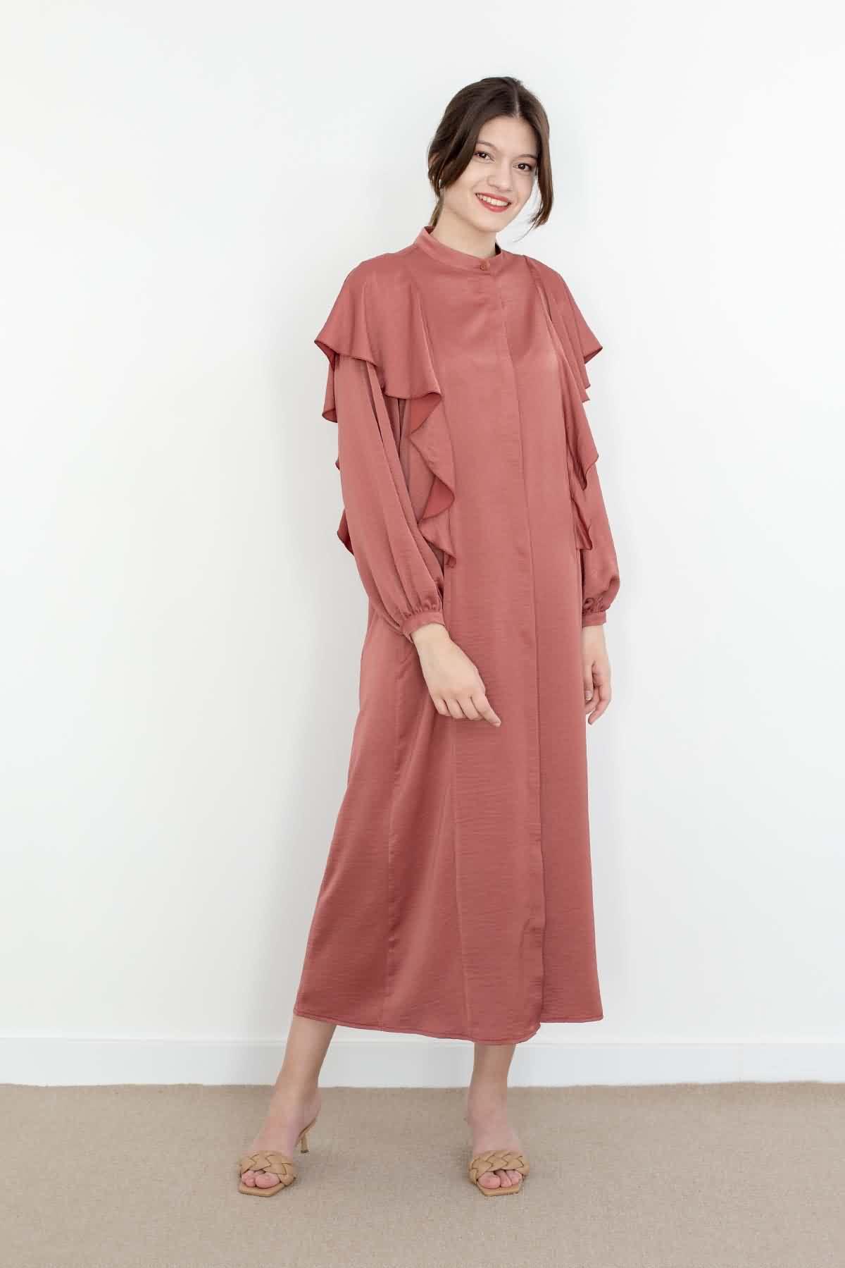 Mevra - Volanlı Elbise Gülkurusu