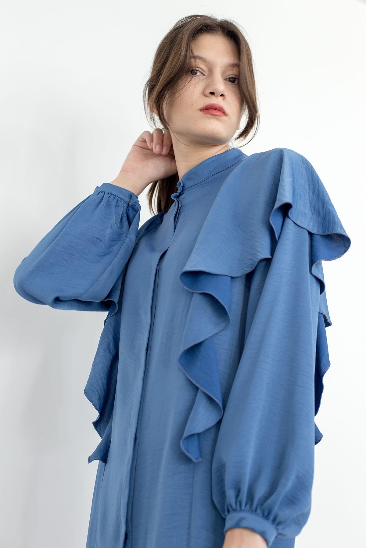 Mevra - Volanlı Elbise İndigo