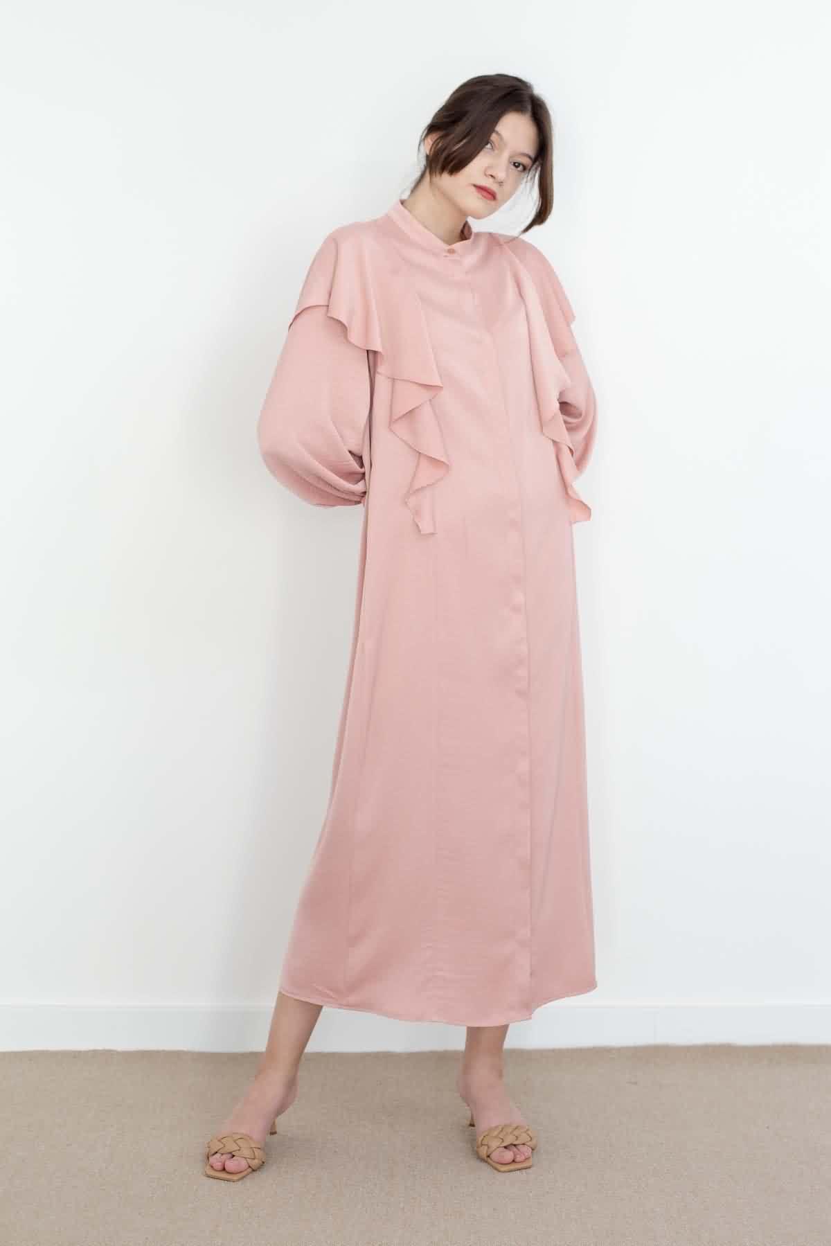 Mevra - Volanlı Elbise Pudra