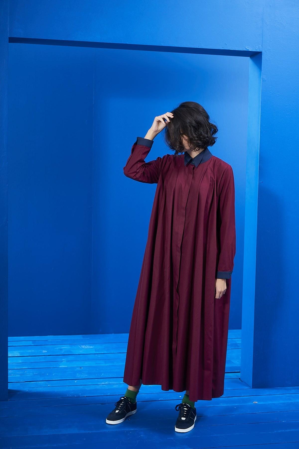 - Yaka Detay Elbise Bordo-Laci